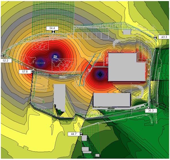 Exemple de modélisation de niveau sonore dans l'environnement d'un site industriel en projet